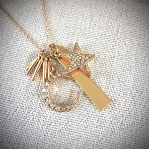 J. Crew Moon and Star Gold Tone Pendant Necklace
